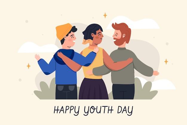 Люди обнимаются вместе в день молодежи в плоском дизайне