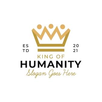 キングネットワークのロゴデザインのための豪華な王冠のシンボルを持つ人々の人間と家族が一緒にコミュニティ