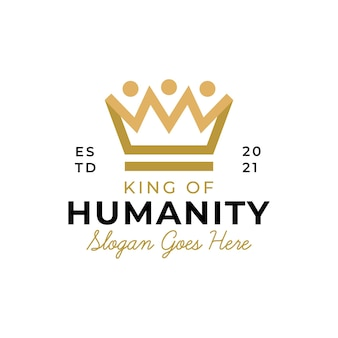 People human and family together community with luxury crown symbol for the king network logo design