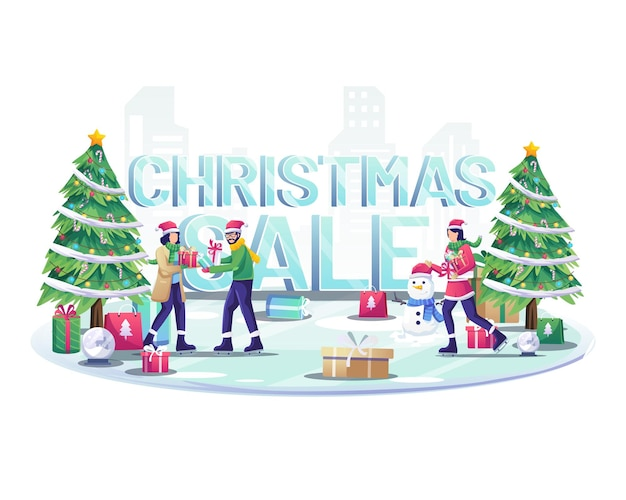 People ice skiing and giving gifts to each other near big words christmas sale sign illustration