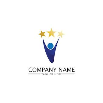 人々のアイコンと星のロゴワークグループベクトルイラストデザイン