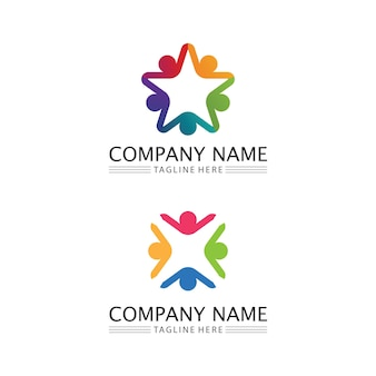 People icon and star logo  work group vector illustration design