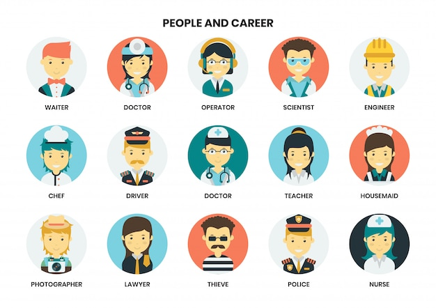 People icons set for business