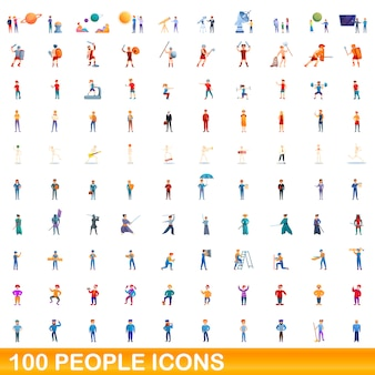 People icons set, cartoon style
