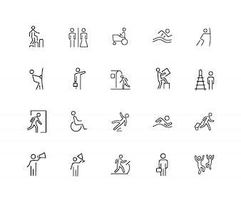 People icons. Set of twenty line icons. Swimming, metro station, exit.