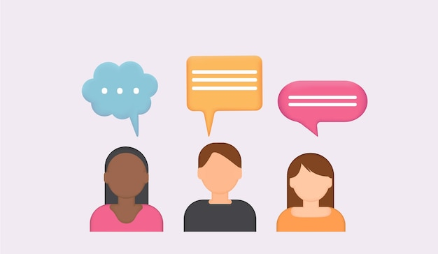 People icons with dialog speech bubbles 3d chat bubbletalk dialogue messenger or online support