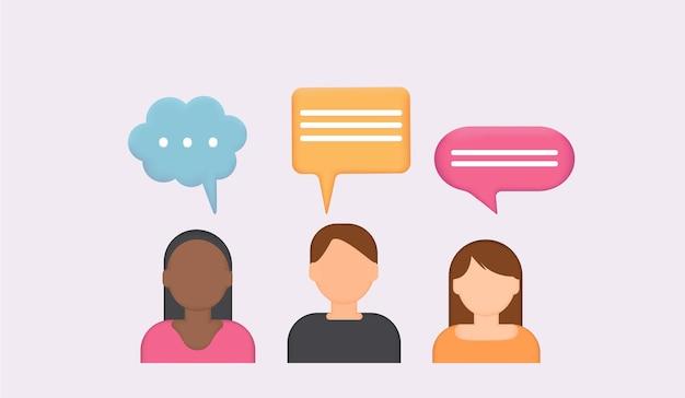 대화 연설 거품이 있는 사람 아이콘 3d 채팅 거품토크 대화 메신저 또는 온라인 지원