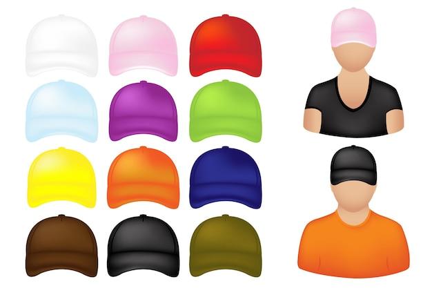 白で隔離のカラフルな野球帽のセットを持つ人々のアイコン