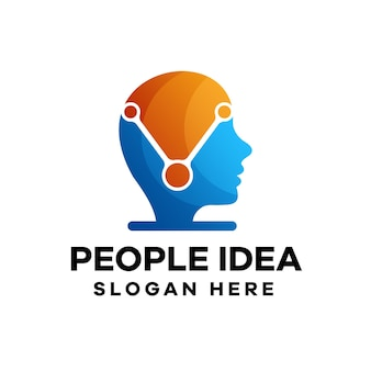 People idea gradient logo design