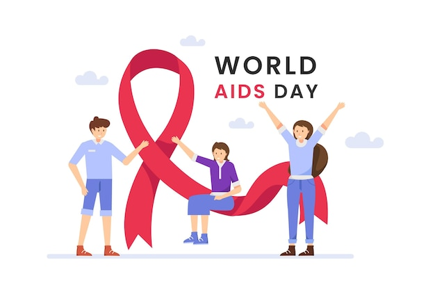 People illustrated on aids day ribbon