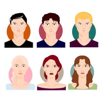 人物イラストセット。さまざまな髪の色とスタイルの漫画スタイルの男性、男の子の男性、女性の女の子の女性。文字ベクトルイラスト。