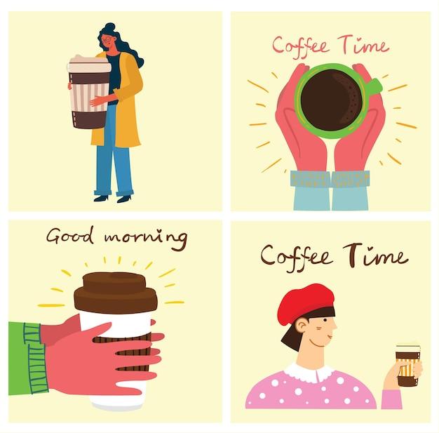 カフェの人はコーヒーを飲みます。