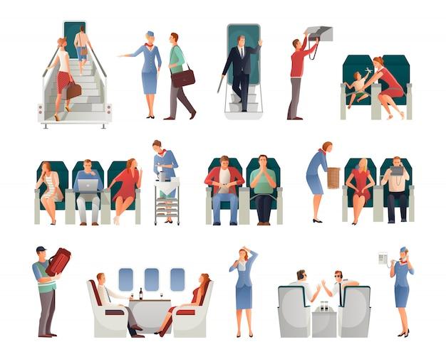 비행기 세트에 사람들