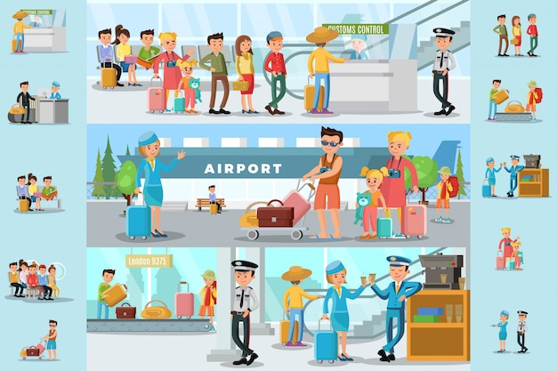 공항 인포 그래픽 템플릿에있는 사람들