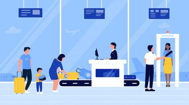 空港セキュリティの人々は図をチェックします。漫画の平らな乗客は、スキャナーのチェックポイントゲートを通過して、コンベヤーベルトマシンに荷物を置きます。航空会社のターミナルのインテリアの背景