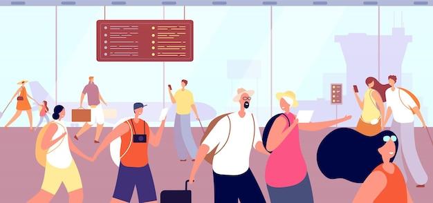 공항 터미널에있는 사람들. 남자 여자와 가방