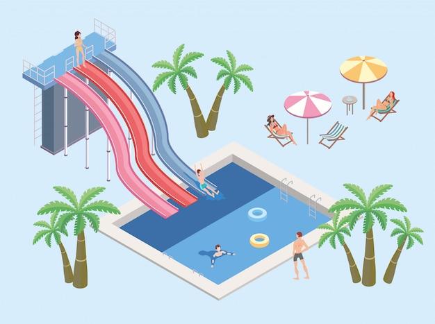 아쿠아 파크의 사람들은 수영장에서 휴식을 취하십시오. 수영장과 워터 슬라이드. 비치 파라솔, 야자수, 일광욕 용 의자가있는 테이블. 아이소 메트릭 그림.