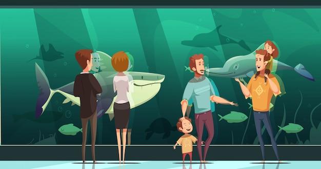 떠 다니는 물고기 평면 벡터 일러스트 레이 션을보고 성인과 어린이 수족관 디자인 구성에있는 사람들