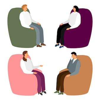 肘掛け椅子の人々。漫画の男性と女性は、リラックスして話したり、リラックスしたり、心理療法のベクトル図の椅子に座ったり
