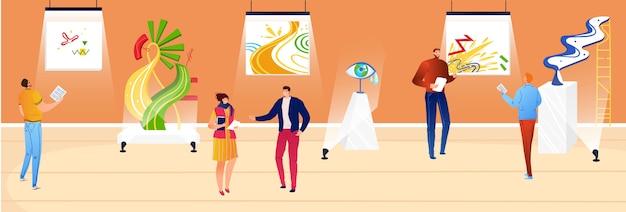 Люди в художественном музее, иллюстрации, мультяшная квартира, мужчина, женщина, посетители восхищаются экспонатами, картинами и скульптурами современного художника.