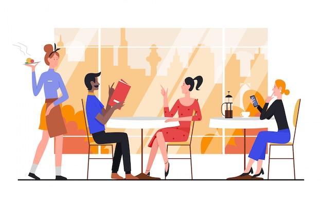 秋の市カフェイラストの人々。漫画の男性女性の友人やカップルの文字の注文、白の秋の街並みの大きな窓の近くの食堂のテーブルに座っています。