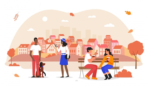 秋の街のイラストの人々。犬、カップルデート、手でホットコーヒーを飲みながらベンチに座って、白秋の都市公園で歩く漫画幸せな男女性キャラクター