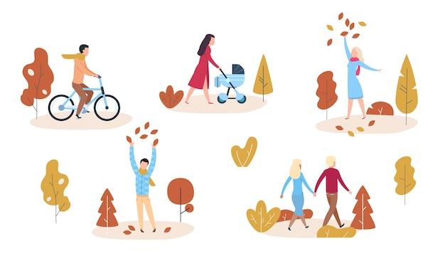 秋の公園や森のイラストの人々