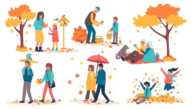 Люди в осеннем парке набор иллюстраций