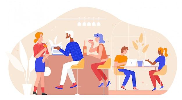 イラストのバーの人々。漫画フラット成人男性女性友人グループのキャラクターが会話のためのバーやレストランのインテリアで会う、ワインを飲む、友好的な会議で一緒にラップトップに取り組んで