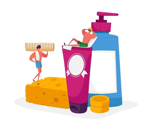 Люди в ванной концепции иллюстрации
