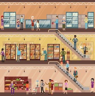 Люди в большом супермаркете. овощи и фрукты. молочные продукты. напитки.