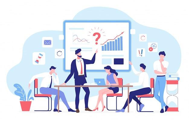 ビジネスチームワークの図の人々。漫画のキャラクターチームは、財務分析レポート、検索ソリューションの分析に取り組んでいます。ビジネスパートナーシップ、白のコミュニケーション