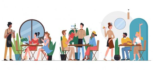 カフェフラットイラストの人々。漫画の友人やカップルのキャラクターがテーブルに座って、ダイニング、話して、分離されたレストランのカフェテリアのインテリアでウェイターからディナー料理を注文