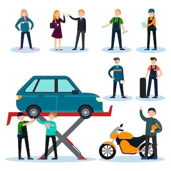 車の修理サービスセットの人々