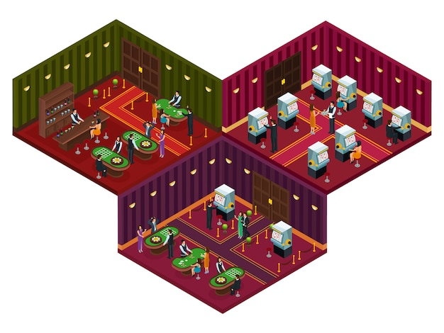 Люди в казино изометрические концепции