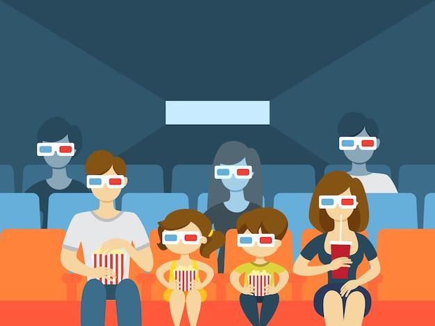 영화관에서 사람들. 영화를보고 먹는 사람들.