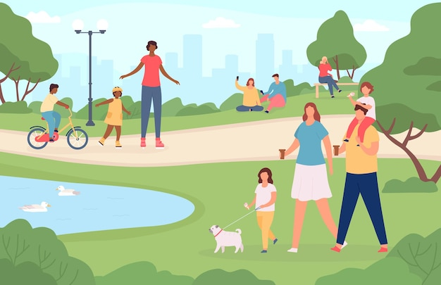 도시 공원에 있는 사람들. 행복한 가족들은 개를 산책시키고, 자연 경관에서 놀고, 자전거를 타고 있습니다. 만화 야외 활동 벡터 개념입니다. 그림 도시 공원, 가족 사람들이 야외에서 휴식