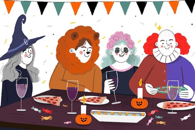 Люди в костюмах, обедают на хэллоуин