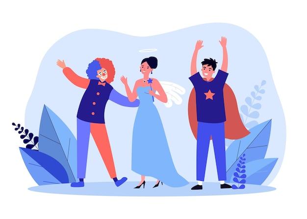 お祝いを楽しんでいる衣装を着た人々。幸せな友達、ピエロの王女と魔術師が一緒にお祝いをしています。新年、誕生日記念日。漫画フラットベクトルイラスト。