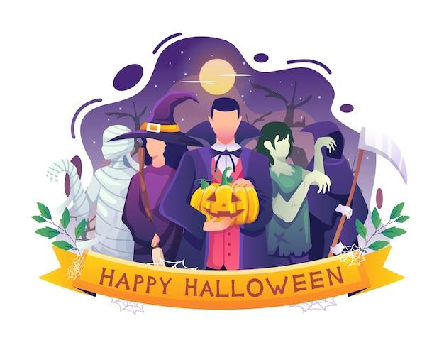 吸血鬼の魔女ミイラゾンビの衣装を着た人々がハロウィーンのベクトルイラストを祝っています