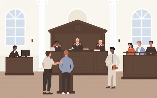 법원 그림에서 사람들입니다. 법정 변호 절차 또는 법원 재판소, 법정 내부 배경에 판사와 배심원 앞에 서있는 평면 평론가 변호사와 비난 된 캐릭터