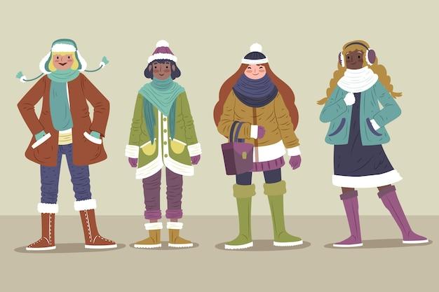 冬のコレクションで居心地の良い服を着た人々