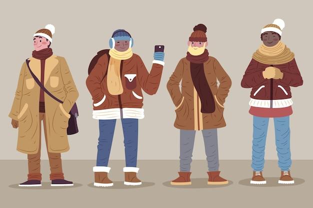 冬のパックで居心地の良い服を着た人々