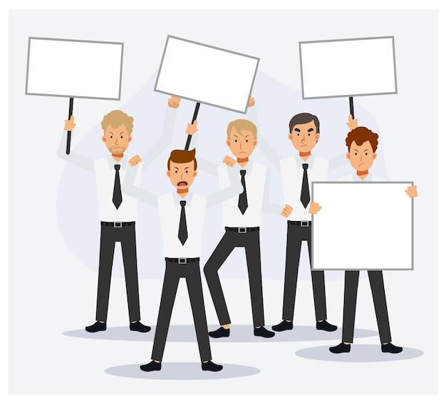 Люди в кризис с плакатами протестуют. мужчина офисный работник протестует. плоские векторные иллюстрации персонажа из мультфильма