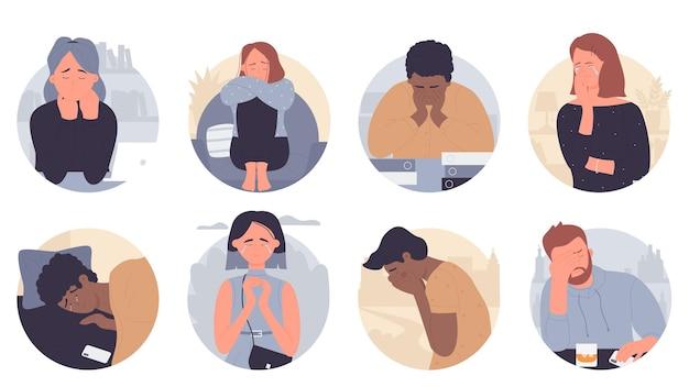 우울증 그림 세트에있는 사람들