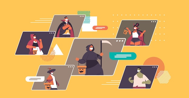 ビデオ通話中に話し合うさまざまな衣装の人々幸せなハロウィーンパーティーのコンセプトコロナウイルス検疫オンライン通信ウェブブラウザウィンドウポートレート水平ベクトルイラスト