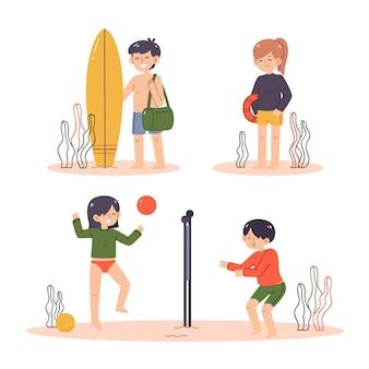 Люди в разных сценах на пляже