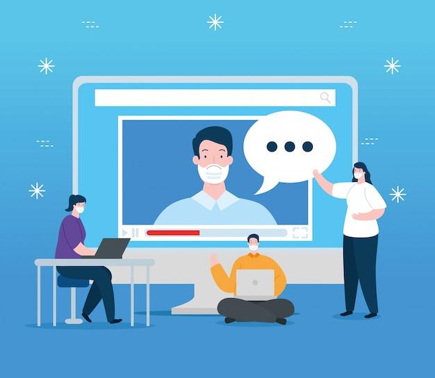 컴퓨터 일러스트 디자인으로 온라인 교육 사람들