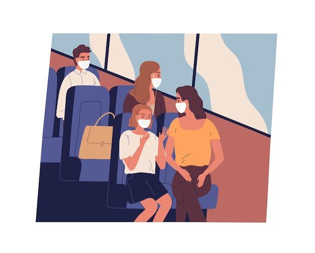 コロナウイルスのパンデミック時に通勤またはバスで旅行するフェイスマスクの人々。現代の公共交通機関の中に座っている男性と女性の乗客。フラットなイラスト。