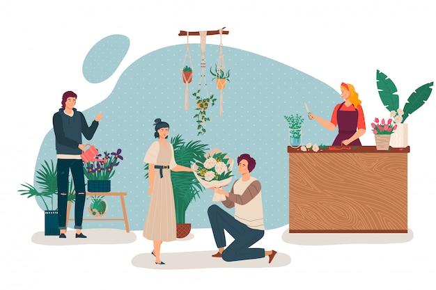 Люди в цветочном магазине, флорист у прилавка магазина, стоящий на коленях мужчина дарит букет женщине, иллюстрация